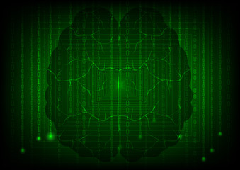 Background in a matrix style with brain. Green vector illustration