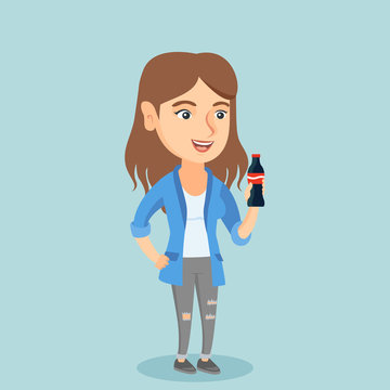 Caucasian woman holding fresh soda beverage in a glass bottle. Young woman standing with a bottle of soda. Cheerful woman drinking soda from a bottle. Vector cartoon illustration. Square layout.