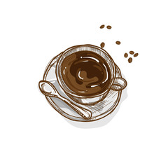 coffee cup hand drawing graphic object