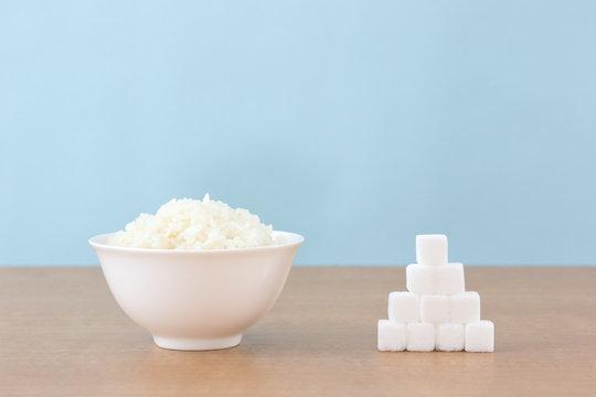 ご飯と角砂糖で糖質制限ダイエットのイメージ