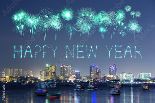 happy new year firework with pattaya cityscape at night thailand