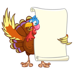 Illustration of a cartoon turkey character holding parchment scroll menu for thanksgiving holidays. Vector turkey with blank paper for message