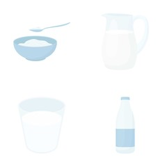 Bowl of cottage cheese, a glass, a bottle of kefir, a jug. Moloko set collection icons in cartoon style vector symbol stock illustration web.