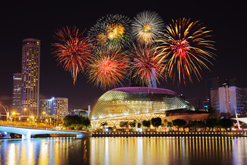 Fotobehang Stadion firework over Singapore cityscape