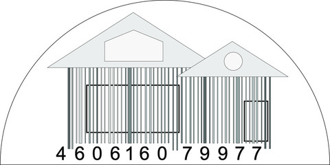 house from barcode / Minimalist logo home sale / black and white