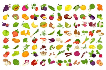 Fruits, vegetables, berries and spices or mushrooms vector isolated icons set Wall mural