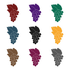 Fototapete - Bunch of grapes icon in black style isolated on white background. Greece symbol stock vector illustration.