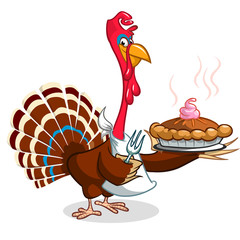Thanksgiving Cartoon Turkey holding fork and pie isolated. Vector illustration of funny turkey wearing pilgrim hat