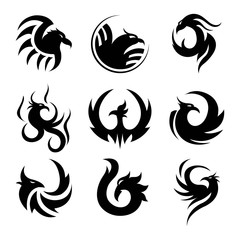 Black tattoo template of phoenix isolated illustrations set