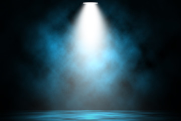 Poster Lumiere, Ombre Blue spotlight smoke stage entertainment background.