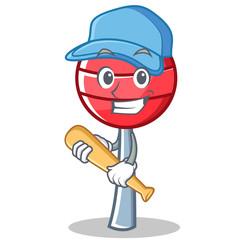 Playing baseball sweet lollipop character cartoon