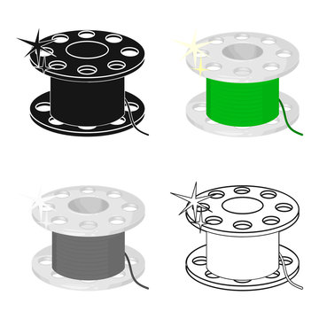 Metal bobbin for sewing. Sewing and equipment single icon in cartoon style vector symbol stock illustration web.