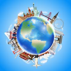 real travel landmark around the world vector