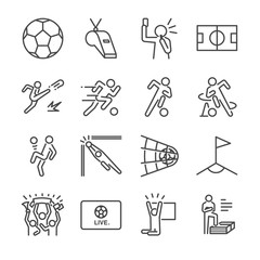 Soccer line icon set. Included the icons as football, ball, player, game, referee, cheer and more.