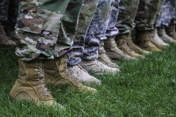 Legs of standing soldiers