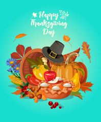 Happy Thanksgiving day. Vector greeting card with autumn fruit, vegetables, leaves and flowers. Harvest festival