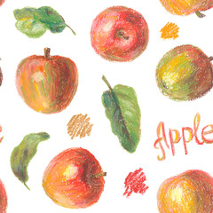 Crayon apples with leaves seamless pattern. Hand drawn artistic fruit repeatable background with oil pastels. Colorful illustration.