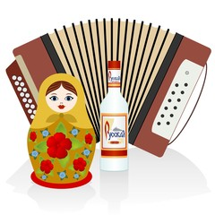 Vodka, accordion, matryoshka