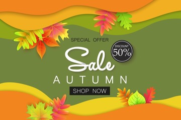 Autumn sale banner with leaves for shopping.
