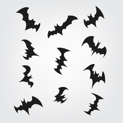 Flying bats set for Halloween. Bat Black silhouette. Printable Party, Event, and Halloween Element for Decoration.