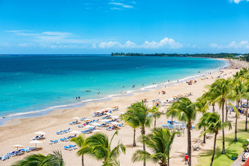 Foto auf Leinwand Karibik Puerto Rico beach travel vacation landscape background. Isla Verde resort in San Juan, famous tourist cruise ship destination in the Caribbean.