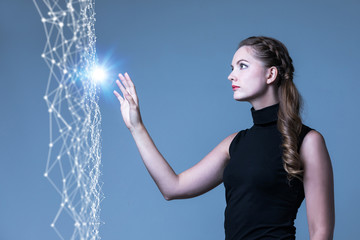 Futuristic woman and communication network concept. 3D rendering.