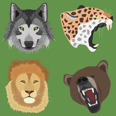 The head of a wolf, the head of a leopard, a bear, a lion