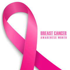 Breast cancer awareness month card. Pink ribbon on white background. Vector illustration.