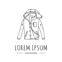 Hand drawn doodle warm jacket icon for active sports like Mountain climbing. Vector illustration Mountaineering equipment  Cartoon sketch element for Trekking Hiking Tourism Expedition Camping Outdoor
