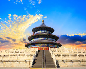 Temple of Heaven landscape at sunset in Beijing,chinese cultural symbols