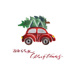 """Handwritten inscriptions """"Merry Christmas"""" and a car with a Christmas tree. Watercolor illustration"""