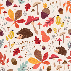 Hand drawn seamless pattern with cute elements, autumnal background, vector design