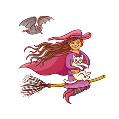 Bright vector pretty good girl witch on broom with white cat. Illustration humorous young magician and pet to all saints day. Children party Halloween. Charmers in pointed hat flying