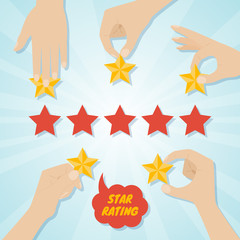 Hands giving five stars rating. Vector illustration