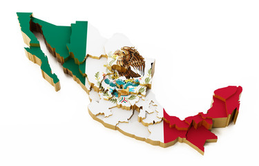 Mexico map with national flag texture showing state boarders. 3D illustration