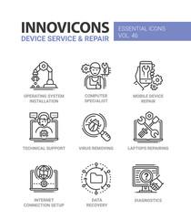 Device Service - modern vector line design icons set.