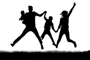 Happy family in jumping silhouette