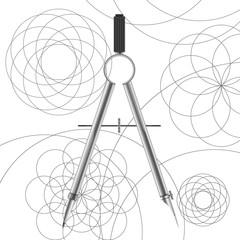 Drawing compasses and drawn circles