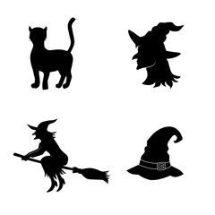 Witch icon set. Vector art.