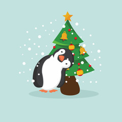 Cute Penguin and tree