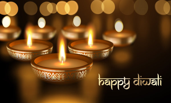 Happy Diwali gold candle light Indian greeting card vector lettering text poster