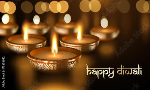 Happy Diwali Gold Candle Light Indian Greeting Card Vector Lettering