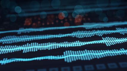Digital audio waves on screen