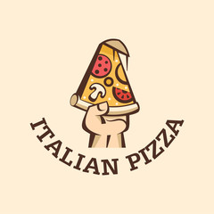 A slice of hot pizza with mushrooms, sausage, tomatoes and cheese in hand. Logo vector Italian pizza.