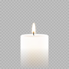 Candle tealight or tea light vector 3D realistic icon burning flame fire