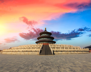 Poster Peking Temple of Heaven landscape at sunset in Beijing,chinese cultural symbols