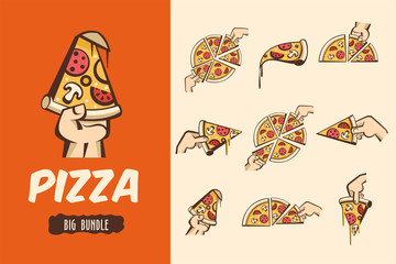 Large bundle pizza. Vector logos, illustrations for cafes pizzerias. The pieces of pizza in his hand.