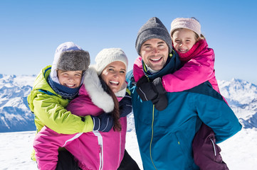 Family enjoying winter holiday