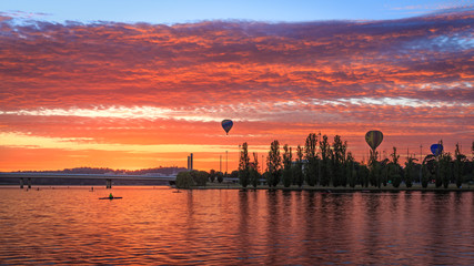 Aluminium Prints Orange Glow Canberra Balloon Spectacular 1