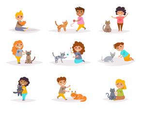 Children and cats. Vector.
